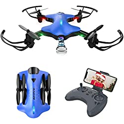 ATOYX Drone avec Caméra AT146 Drone Pliable Hélicoptère Télécommande WiFi avec Mode sans Tête, Induction de Gravité, Maintien d'altitude, Jouet et Cadeau pour Enfant/Débutant/Adulte - Bleu