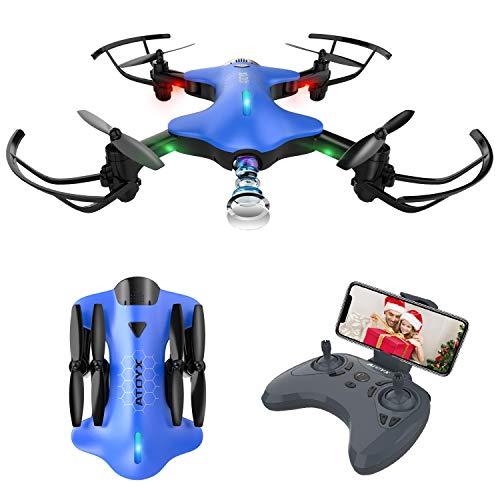 Drone pieghevole con telecamera posizionamento preciso del flusso ottico 720p wifi fpv portatile mini drone per principianti e adulti rc quadricottero telecomando con g-sensore (blu)