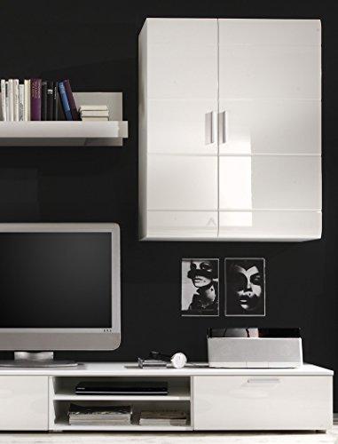 Wohnwand Shane 265x197x47cm Schrankwand Wohnzimmerschrank LED-Beleuchtung, TV-Board, Lowboard, Wandboard, weiß Hochglanz, Schwarzglas - 4