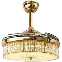 SADASD Lámpara de techo minimalista de 42 pulgadas LED de cristal invisible para ventilador de interior