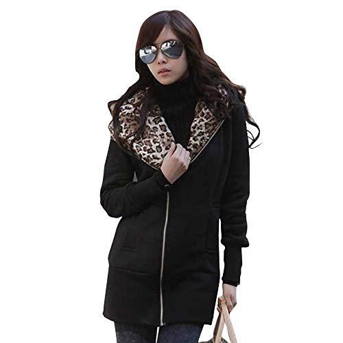 Hanomes Damen Mantel,Damen Mode Leopard Print Hoodie Slim Fit Sweatshirt Einfarbig Reißverschluss mit Kapuze Mantel Jacket -