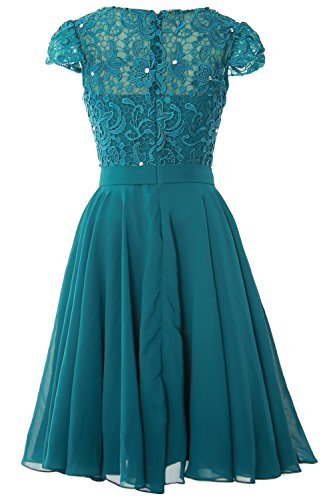 MACloth Women Cap Sleeve Mother of the Bride Dress Lace Short Formal Party Gown Menthe