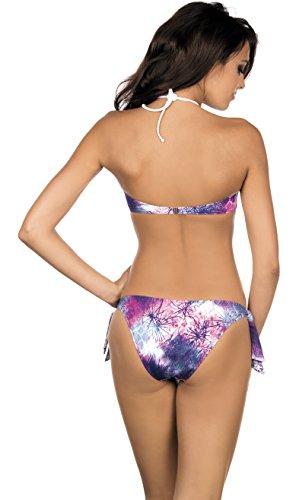 Lorin Damen Push-Up Bikini Set L2049/6 Weiß/Violett (Muster-v1)
