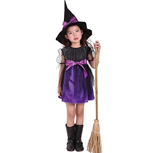 QINGQING Kinder Baby Mädchen Hexe Dress up Halloween Kinder Durchführung Kleidung Kostüm Kleid Party Kleider + Hexe Hut + Gürtel (5-12) Kinder Mädchen Halloween Kleidung Kostüm