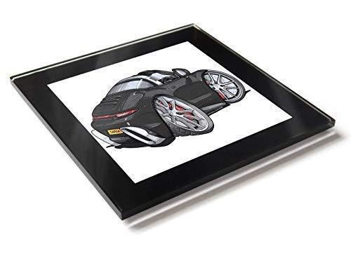 Koolart Cartoon Auto Porsche 911 Targa Glastisch Untersetzer mit Geschenkverpackung - Schwarz, 10cm x 10cm -