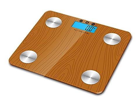kabalo Effekt Holz 180kg Kapazität Elektronische Digitale multi-function Körperfett, die Zusammensetzung Body, Wasser, Muskeln, OS, (Elettronico Digitale Scala In Vetro)