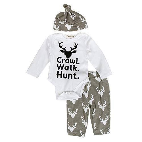 (3PCs Neugeborenes Babybekleidung Bio-Baumwolle Nachtwäsche Babymode Babyausstattung Baby Outfit Kleidung Print Strampler Tops + Lange Hosen + Hut Felicove)