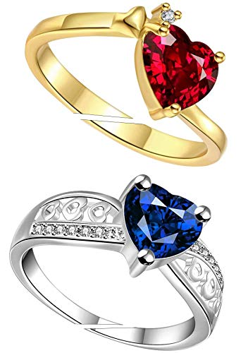 Jewellery For Women Queen Red & Blue Stone Heart Ring Adjustable Finger Combo Ring for Girls & Women(Free Size)