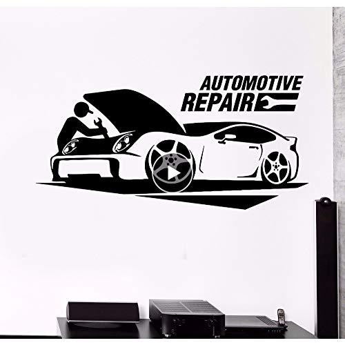 er Autowerkstatt Autoservice Wandaufkleber Garage Wanddekor Abnehmbare Vinyl Wandtattoo Autowerkstatt Dekor 85 * 42 Cm ()
