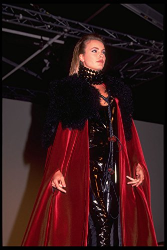 548004 Black Leather Bodysuit And Red Velvet Cape A4 Photo Poster Print 10x8