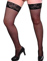 Gabriella strumphose calze, halterlos ancha, borde en punta (9 cm), Plus Tamaño, 15 de las, tamaño XL XXL