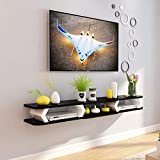 Wandhalterung TV-Schrank Schwimmendes Regal Wand-Hintergrundablage Regal für DVD- / Blu-Ray-Player Satelliten-TV-Box Kabelbox Bilderrahmen Buch,Black,130cm