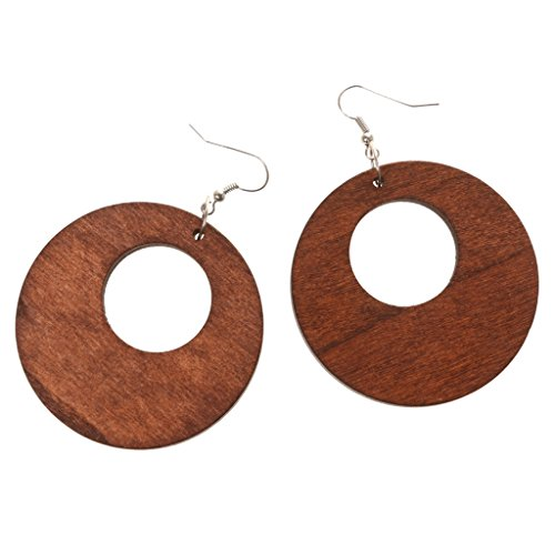Hohl Design Holz Tropfen Baumeln Ohrringe Haken Farbe DIY Schmuck Braun 50mm