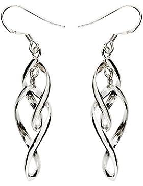MYA art Damen Spirale Ohrringe Hängend Ohrhänger Hängende Silberohrringe mit Tropfen Anhänger 925 Sterling Silber...