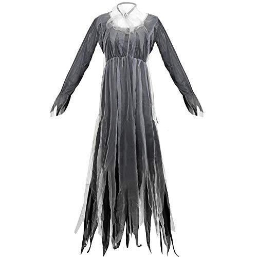 JRKJ Halloween Graue Weibliche Ghost Bride Vampire Devil Lady Kostüm @ L (Ghost Lady Kostüm)