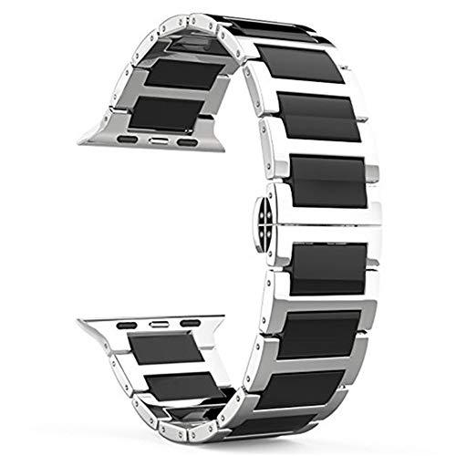 Qiy Kompatible Keramik-Metall-Edelstahlband 38 mm / 42 mm für Apple Watch-Armband für iWatch-Serie 1/2/3, Schwarz/Splitter,Black,42mm