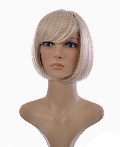 Platin Blond Kurzhaarig Bob Stil Frisur Perücke | Im Stil von Jenny (Bob Blonde Platin Perücke)