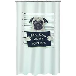 Spirella - Cortina de ducha con diseño de carlino y texto 'Bad dog', poliéster, 180x 200cm, negro/blanco