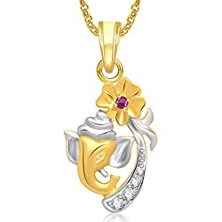 Amaal Gold Plated In American Diamond Cz Pendant With Chain For Men/Women