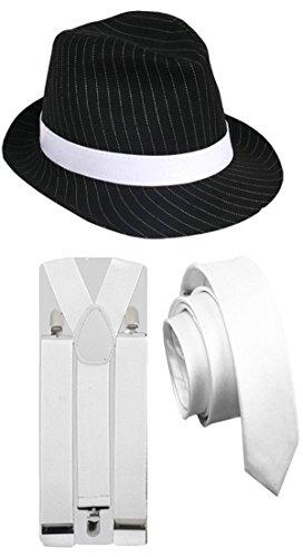 PINSTRIPE GANGSTER HAT TIE BRACES 1920'S TRILBY FEDORA PARTY FANCY DRESS COSTUME (3 PC White Full Costume) (Mafia Themen Kostüm)