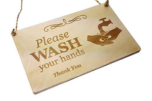 Placa Inodoro, baño, W.C, Texto inglés Please Wash