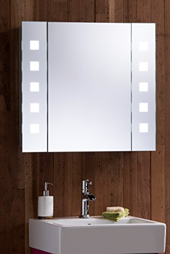 Led illuminated bathroom mirror cabinet with demister for Bathroom cabinets 60cm