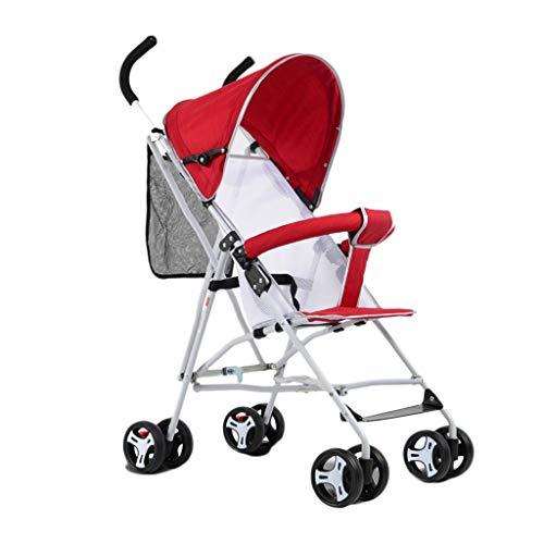 Einfache ultraleichte Kinderwagen-Trolley-tragbare Faltbare Kinderwagen Buggies Stoßdämpfer Vierrädrige Kinderwagen Kinderwagen (Color : Red, Größe : 25.19 * 18.11 * 37.4inchs)