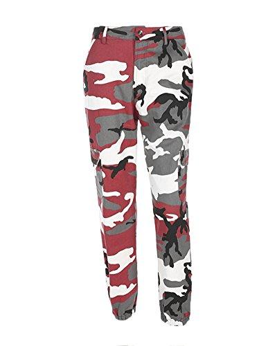 Donna Stampa Mimetica Tempo Libero Sciolto Jeans Moda Moda Pantaloni Vino Rosso