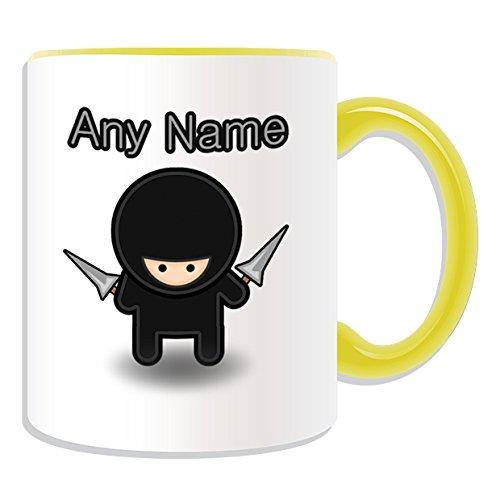 chenk-Ninja mit Seil dart Becher Fairy Tale (Design-Design, verschiedene Farben) Name und Nachricht, an ihr einzigartiges Becher, keramik, gelb ()