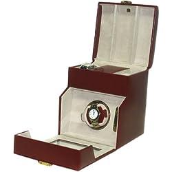 "Davidt's Unisex Leather Watch Winder Box ""Chrome"" 390874.14 Red"