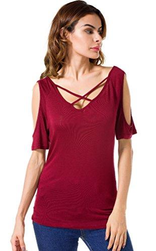 Suimiki Damen Sommer Kurzarm T-Shirt V-Ausschnitt mit Schnürung Vorne Oberteil Tops Bluse Shirt (L, T02_Weinrot)