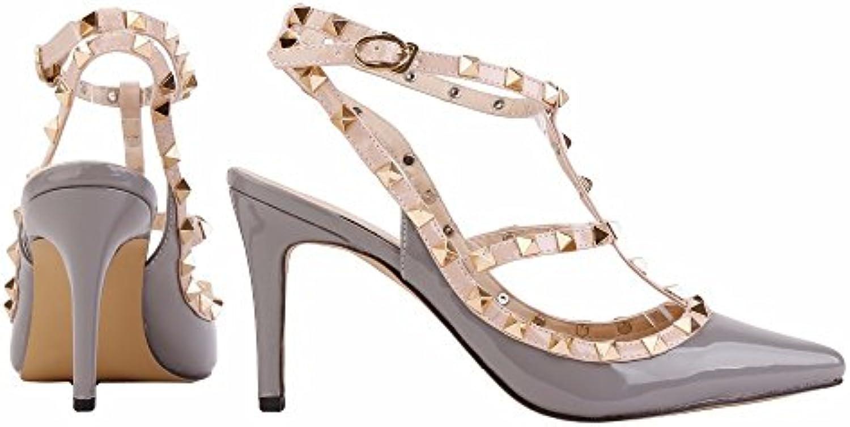 cd3e1fc0786b4f Punk Rivet Rivet Rivet Pointed Toe Chaussures Femmes Pompes Mode Chaussures  Talons Chaussures Femme Pompes Femmes Chaussures.