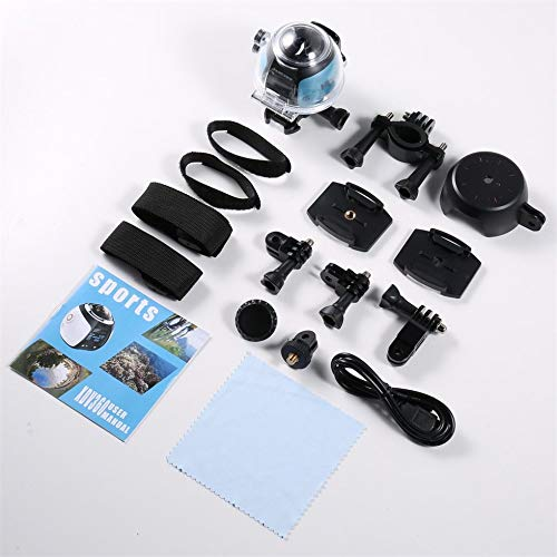 Dvr 30fps (360Degree WiFi 2448P 30FPS 16M Filmkamera für Virtual Glass VR Action Sport Blau & Schwarz EU Stecker)