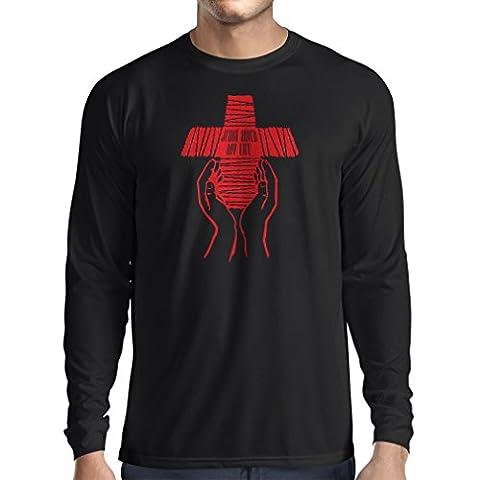 T-Shirt Manches Longues Homme Jésus a sauvé ma vie - foi religieuse vêtements chrétiens (Small Noir Multicolore)