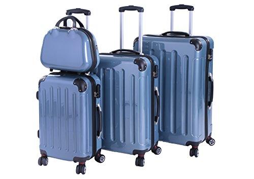 P-Collection Koffer Trolley Reisekoffer Hartschalenkoffer Handgepäck M-L-XL 3er/4er Set Zwillingsrollen 8 Farbeny (4er Set, eisblau)