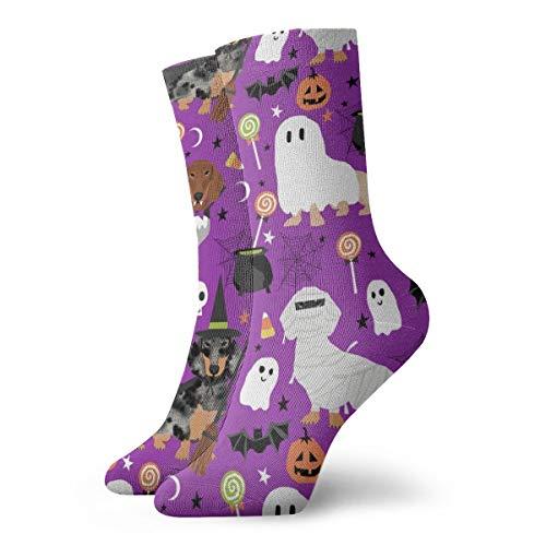 Bidetu Fun Socken-Dackel Halloween Stoff Hund Hunde Stoff Dackel Halloween Spooky Ghost Stoff - Purple_737 Malerei Kunst gedruckt lustige Neuheit Tier lässig Baumwolle Crew Socken 11.8inch