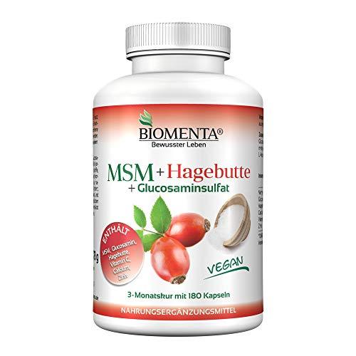 BIOMENTA MSM Schwefel + Hagebuttenpulver + Glucosamin | AKTION!!! | 3 Monatskur | VEGAN | 180 MSM Kapseln hochdosiert | Gelenkkapseln bei Gelenk Schmerzen – Anti Pickel Tabletten bei Akne