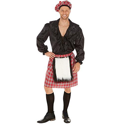 TecTake dressforfun Herrenkostüm Schotte | Cooler, schottischer Rock | Rock mit aufgenähtem Fellimitat | Inkl. Schottenmütze auch im Webkarostil (S)