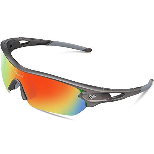 Gepolariseerde sportzonnebril van Torege, met 5 verwisselbare lenzen voor heren en dames, geschikt voor fietsen, racen, autorijden, vissen, golfen, honkbal, TR002, grijs