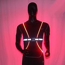 Alta visibilidad chaleco reflectante para ejercicio cinturón con LED luminoso Fibra Óptica para Running, Footing, ciclismo, senderismo, pasear al perro, motocicleta, y montar a caballo, color rojo, tamaño L