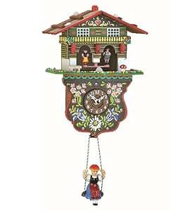 Kuckulino Pendulette en miniature de la Forêt Noire maison chalet météo avec mouvement quartz et chant du coucou TU 2026 SQ