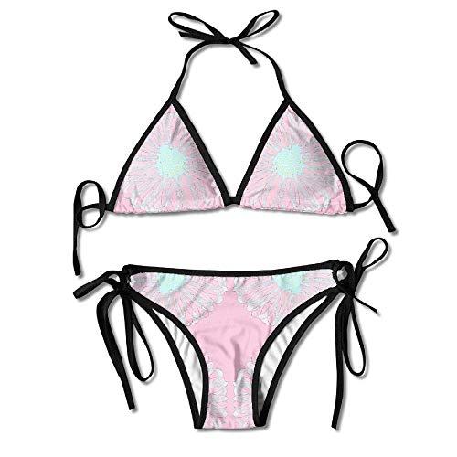 Jieaiuoo Womens Sexy Bikini Sets Bathing Swimsuits Tie Back Crazy Daisy Pink Laser Ice Blue Fabric Flower Print -