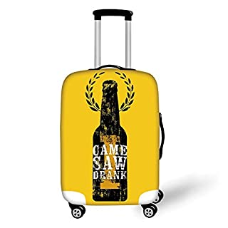 Travel Luggage Cover Suitcase Protector,Man Cave Decor,I Came I Saw I Drank Typography Retro Grunge Aphorism Floral Wreath,Yellow White Black,for Travel,L