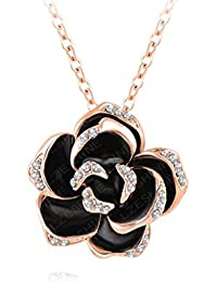 Yiwu Crystal BLACK,WHITE 18K ROSE GOLD METAL CHAIN/PENDANT Fashion Jewellery For WOMEN