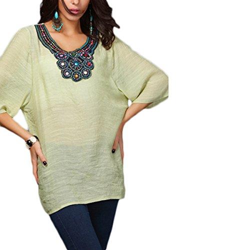Chic Femmes Lâche Chemisier Manches Longues Extensible Rond Encolure Ronde perlé Clou Gilet Long Tunique Haut T-Shirt Grande Taille Vert