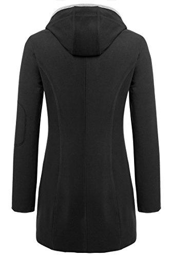 ZEARO Kapuzenpullover Damen Pulli Sweatshirt Reißverschluss Mantel Jacke Kordelzug Blumen Sweatshirt Schwarz