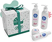 The Moms Co. Baby's Must Have with Ribbon Gift Box, Natural Lotion, Wash, Massage Oil and Diaper Rash C