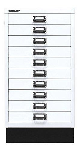 BISLEY MultiDrawer, 29er Serie mit Sockel, DIN A3, 10 Schubladen, Metall, 696 Verkehrsweiß, 43.2 x 34.9 x 67 cm
