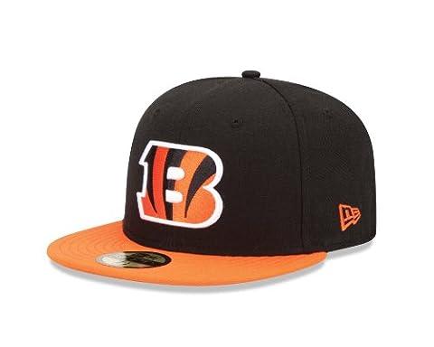 NFL Cincinnati Bengals Black and Team Color 59Fifty Fitted Cap, Black/Orange, 7 1/8