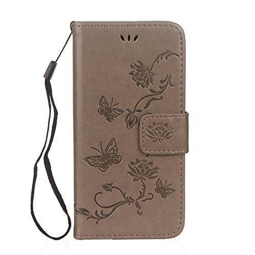 Custodia iPhone 6S Plus, Custodia iPhone 6 Plus, Cover iPhone 6S Plus/iPhone 6 Plus, ikasus® iPhone 6S Plus/iPhone 6 Plus Colorato verniciato Custodia Cover [PU Leather] [Shock-Absorption] Goffratura  Grigio